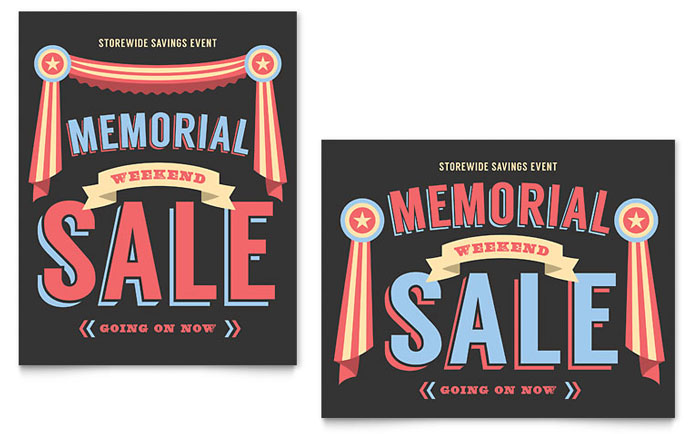 Sale Poster Example - Memorial Weekend