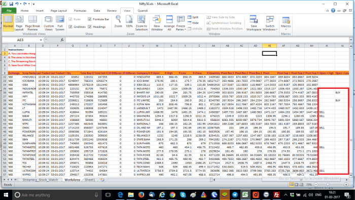Intraday Trading Excel Sheet
