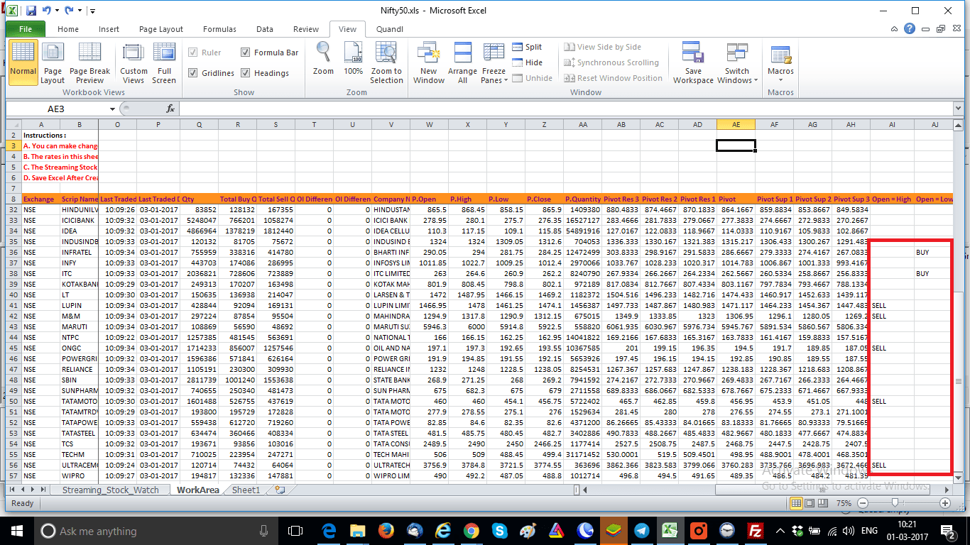 Trading system using excel