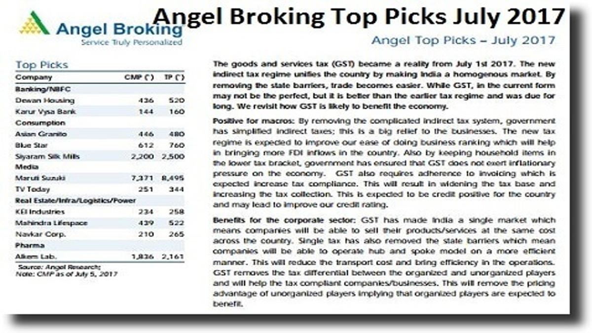 Angel Broking Top Picks July 2017 – GST Stock Picks