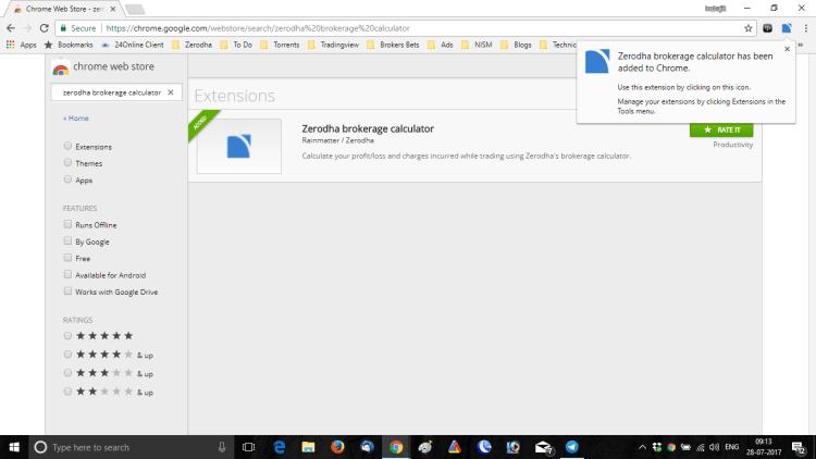 Zerodha Brokerage Calculator Google Chrome Extension