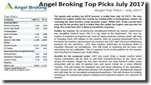 angel broking top picks july 2017