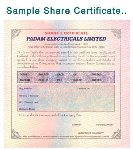 Physical Share Certificate