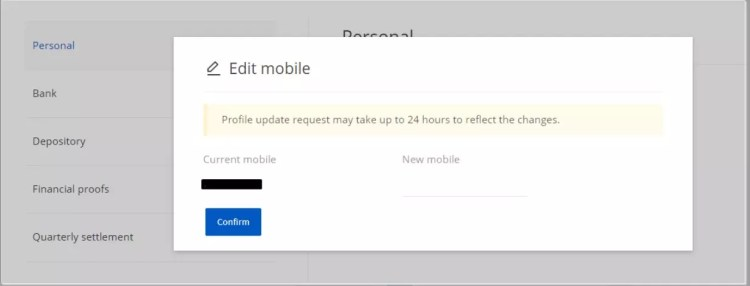 change mobile number in zerodha