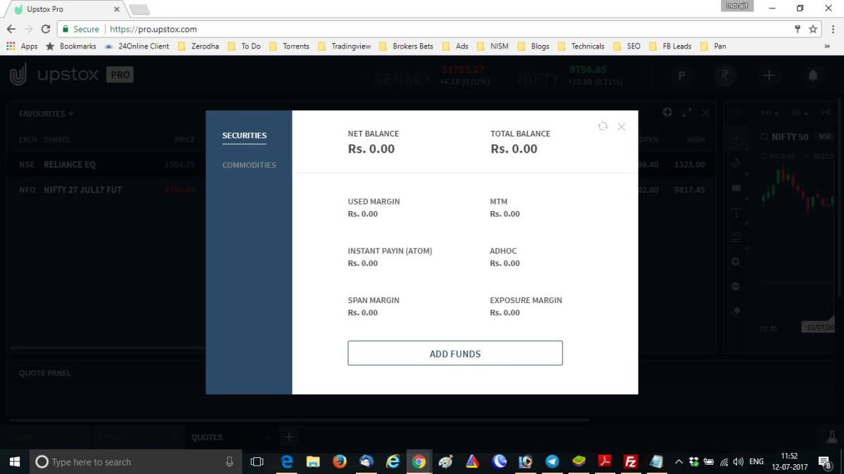 Upstox Pro fund transfer