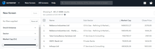 The nifty50 stocks on fundamental stock screener.
