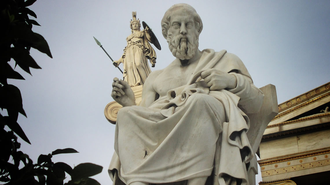 Athena looking over Socrates