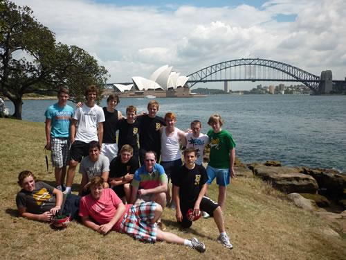 Cricketers in Sydney on Australia tour