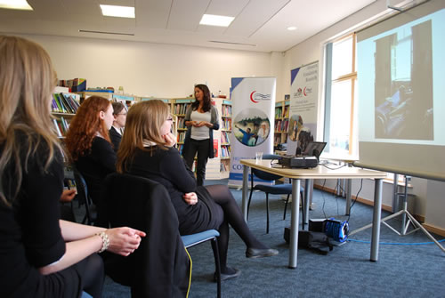 Dr Nicola Lowe speaks to pupils about nutrition research