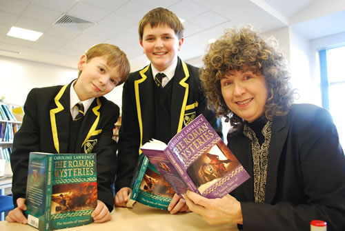 Roman Mysteries author Caroline Lawrence with pupils
