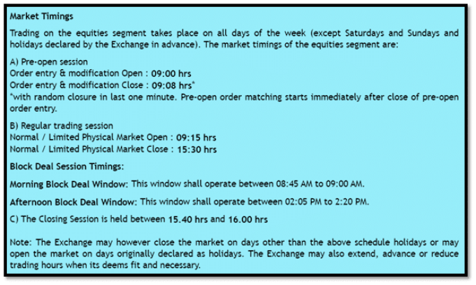 Trading Time in India