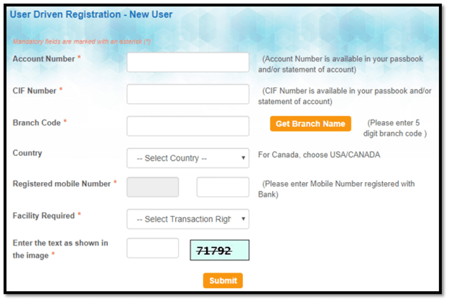 SBI User Driven Registration- New User
