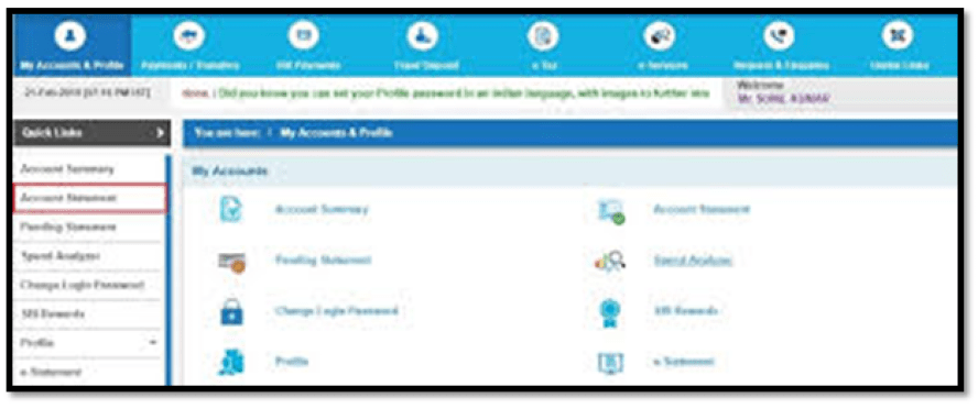 SBI Online Account Statement Interface
