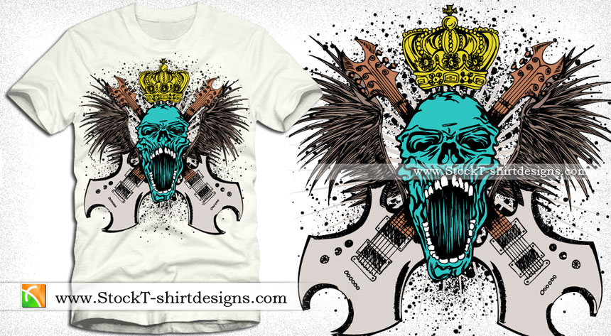 Rock music skull with guitars wings and crown vector art Music shirt design ideas