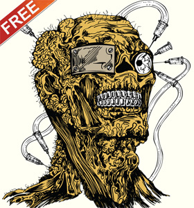 Free Vector Apparel T-shirt Design with Demon Man