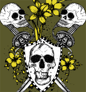 Vector Tee Design with Skulls, Shield, Sword and Flowers