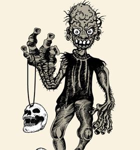 Demon Man with Skull Vector Graphics Tee Design
