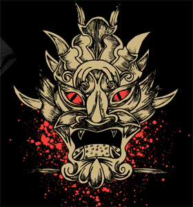 Vector T-shirt Graphics Design with Demon