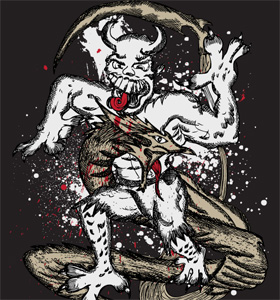 Demon Man with Dragon Vector Tee Design