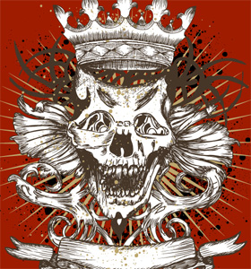 Vector T-shirt Design with Skull, Crown and Ribbon
