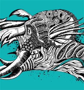 Vector Tee Graphics Design with Demon Man