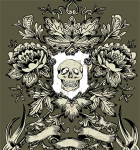 Shield with Skull and Flower Vector T-shirt Design