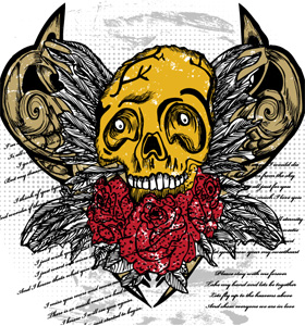 Vector T-shirt Design with Valentines Skull