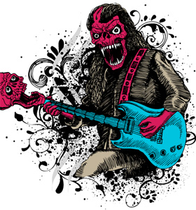 Demon Man Playing Skull Guitar Vector T-shirt Design