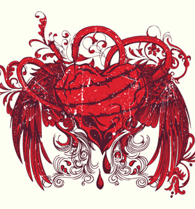 Syringe Injecting a Red Bleeding Winged Heart Vector T-shirt Design
