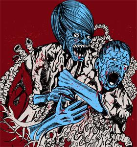 Demon Man Attack on Boy Vector T-shirt Design