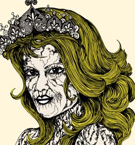 Vector T-shirt Design with Vintage Victorian Women
