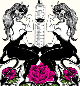 Skull Woman with Flowers and Syringe Vector T-shirt Graphic Design