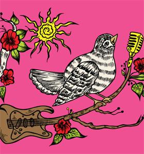 Vector Wooden Guitar with Singing Bird and Flower Tee Design