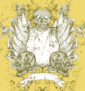 Vector Tee Design with Skulls, Shield, Banner and Wings