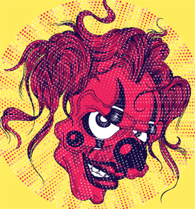 Vector T-shirt Design Illustration with Scary Clown Face