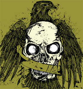 Eagle T-shirt Design with Skull
