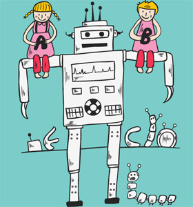 Cute Cartoon Children Playing with Robot T-shirt Design Vector
