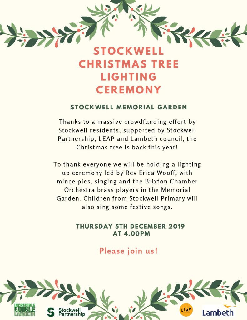 Stockwell Christmas Tree Lighting Up Ceremony