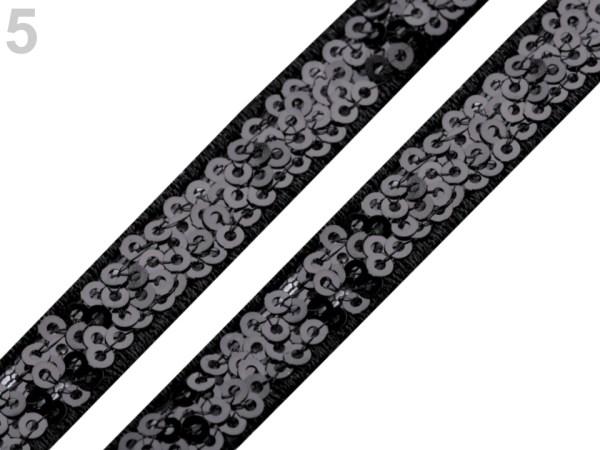 Borte mit Pailletten, 13 mm, schwarz