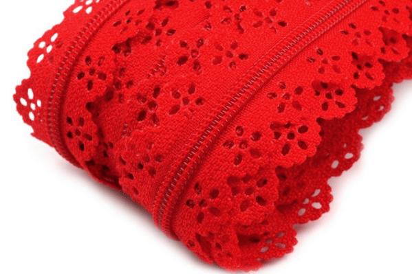 Spitzenreißverschluss rot, inklusive 2 Zipper