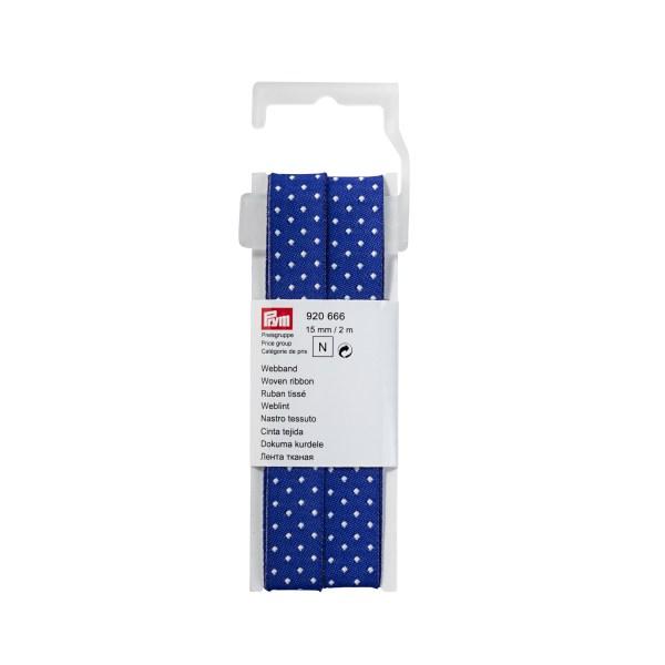 Prym Webband blau/ecru gepunktet, 15 mm
