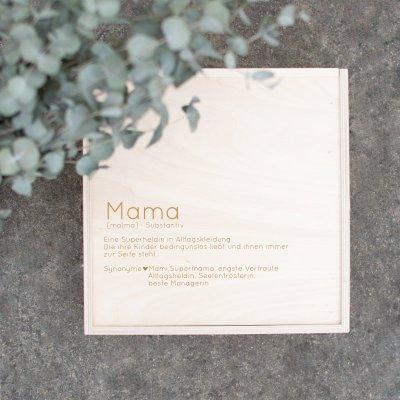 Erinnerungskiste, Holzkiste Muttertag, Mama, Alltagsheldin, Supermama, Geschenk zum Muttertag, Muttertagsgeschenk, Mama, Lieblingsmama, Supermom, Holzschild personalisiert, Gravur