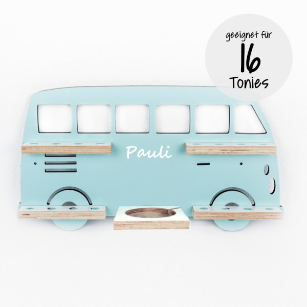 Bulli, VW Bus, Bus, Volkswagen, Tonieboxregal, Toniebox, Toniebox Regal, Stofftiger, Personalisierte Geschenke, Personalisiertes Regal, Tonie, Toniebox Regal, Toniebox, Tonieboxregal, Tonies, Regal, Kinderzimmer, Einrichtung, Babyzimmer, Geschenk, Geschenkidee