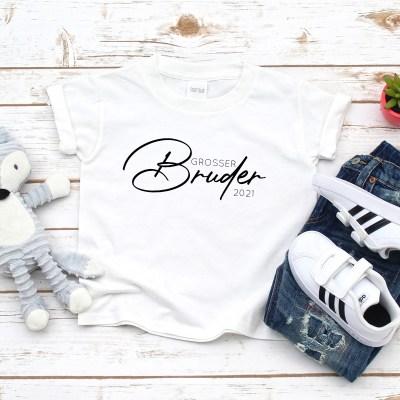 Stofftiger, T-Shirt personalisiert, Großer Bruder, Schwangerschaftsankündigung, Pregnancy Announcement, Schwangerschaft, Große Schwester, Kleiner Bruder, Kleine Schwester, T-Shirt, Geschenkidee
