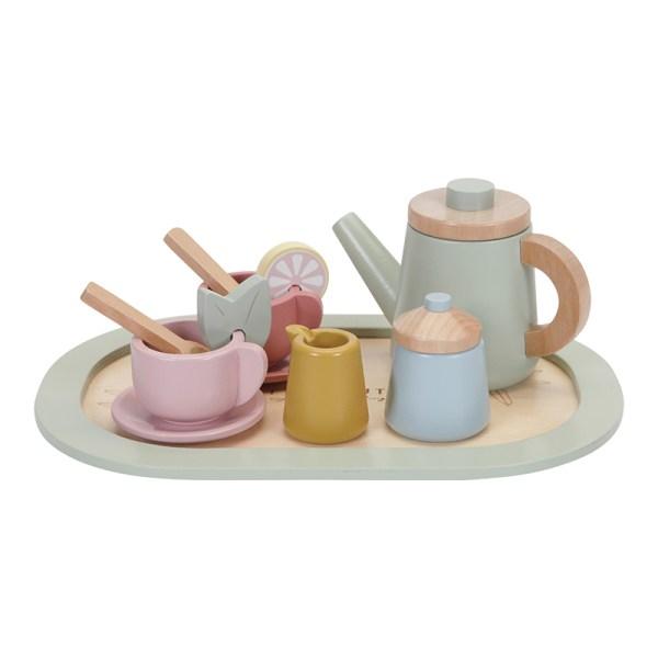 Holzteeset, puppenküche, Holzspielzeug, Küche, Kinderküche, Küchenspielzeug, Spielzeug, Holzspielzeug, Holz, nachhaltiges Spielzeug, Niederländisches Label, skandinavisches Spielzeug, pastell, Geschenk,