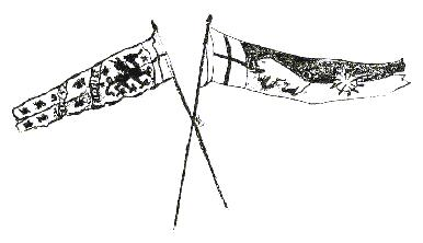 Sketch of battle standards from the Battle of Bosworth Field, Stoke Golding