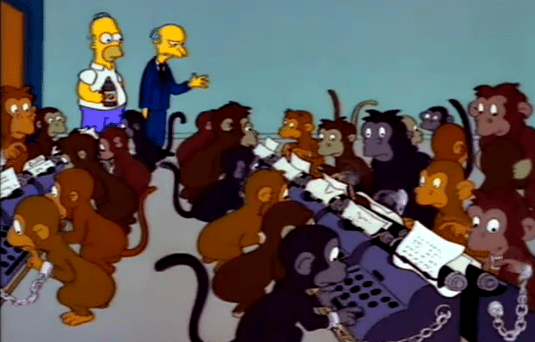 I imagine it's a lot like this . . . only the monkeys are listening to our show.