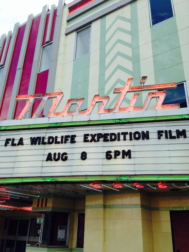 The Florida Wildlife Corridor Film on the Martin Theatre marquee.