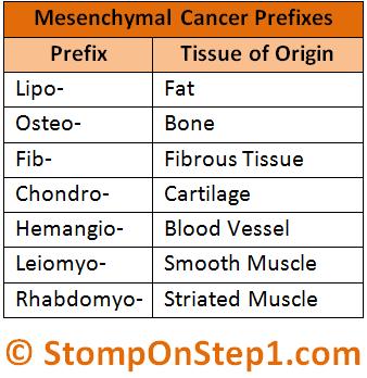 Mesenchymal Cancer Prefix Tumor Nomenlcature