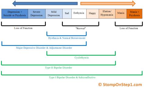 Mood Disorder Continuum Bipolar Type 1 2 Major Depressive Disorder Adjustment Cyclothymia Dysthmia Bereavement Mania